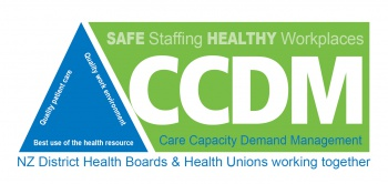 Safe Staffing Healthy Workplaces (SSHW) and Care Capacity Demand Management logo